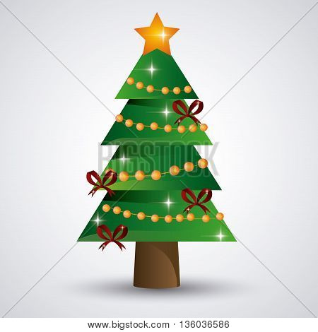 Merry Christmas concept represented by pine tree and gift icon. Colorfull and flat illustration