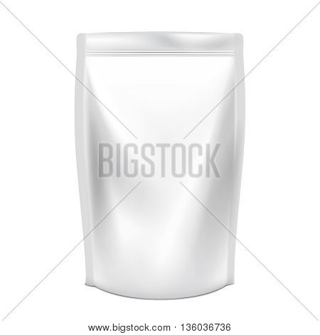 Doypack vector. Doypack for food or drink. Plastic pack doypack. Doypack product, doypack food, doypack snack, liquid doypack illustration
