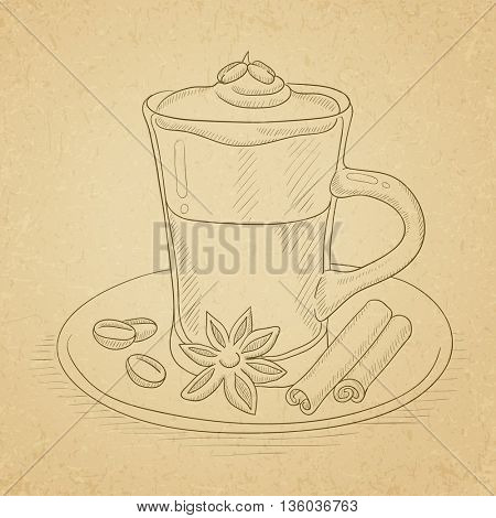 Coffee cup with anise, sticks of cinnamon and coffee beans on saucer. Coffee hand drawn on old paper vintage background. Coffee vector sketch illustration.