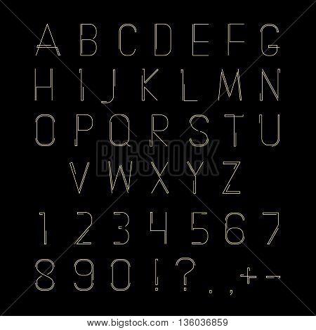 Hipster linear font, vector linear alphabet. Letter linear type, alphabet hipster linear, abc linear illustration