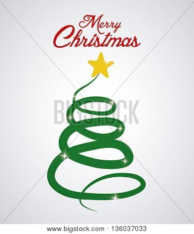 Merry Christmas concept represented by pine tree and star icon. Colorfull and flat illustration