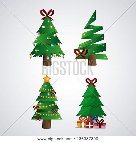 Merry Christmas concept represented by pine tree icon. Colorfull and flat illustration