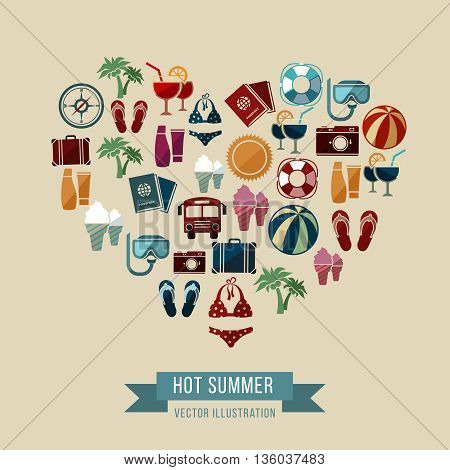 Summer vector background with flat beach and vacation icons in heart shape. Vacation summer, travel summer, element summer icon banner illustration