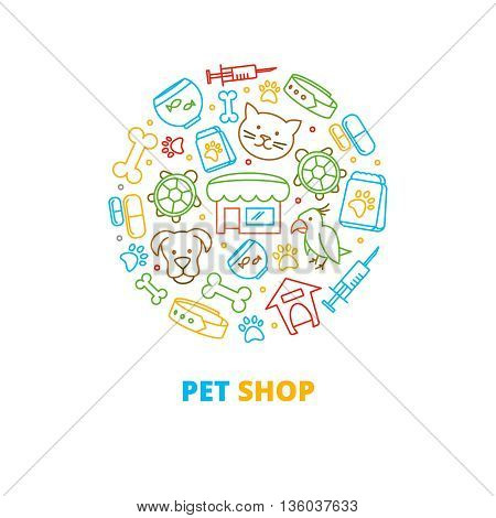 Pet shops, veterinary clinics and homeless animals shelters vector line icons in circle design. Turtle and parrot pet, fish pet,  pet shop illustration