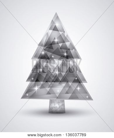 Merry Christmas concept represented by polygonal pine tree icon. isolated and flat background