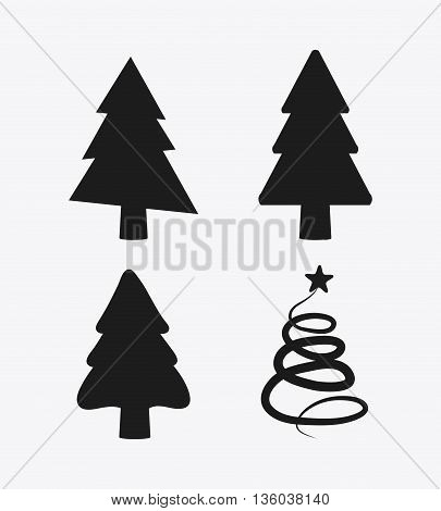 Merry Christmas concept represented by icon set of shilhouette pine trees. isolated and flat background