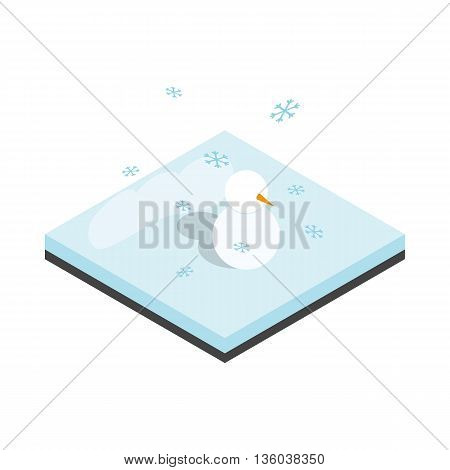 Snowman and winter landscape icon in isometric 3d style isolated on white background. Nature symbol