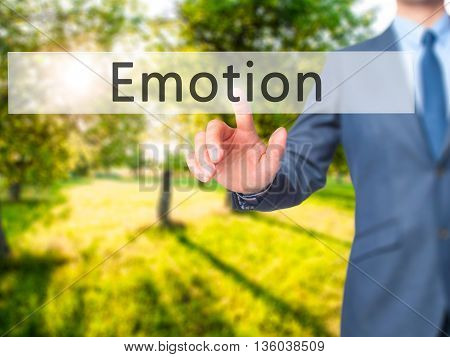 Emotion - Businessman Hand Pressing Button On Touch Screen Interface.