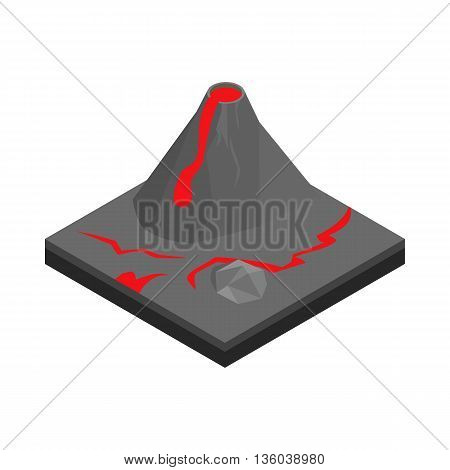 Volcano landscape icon in isometric 3d style isolated on white background. Nature symbol
