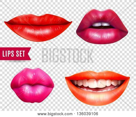Lips realistic transparent set with bright lipstick isolated vector illustration