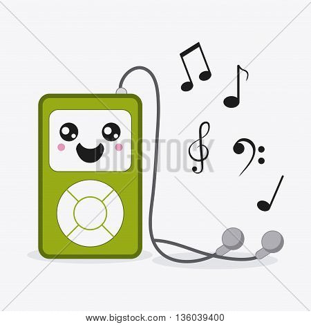 Kawaii and technology concept represented by mp3 cartoon icon. Colorfull and flat illustration
