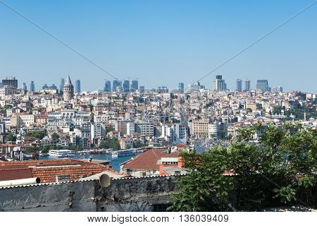 Top view of Istanbul from roofs Turkey