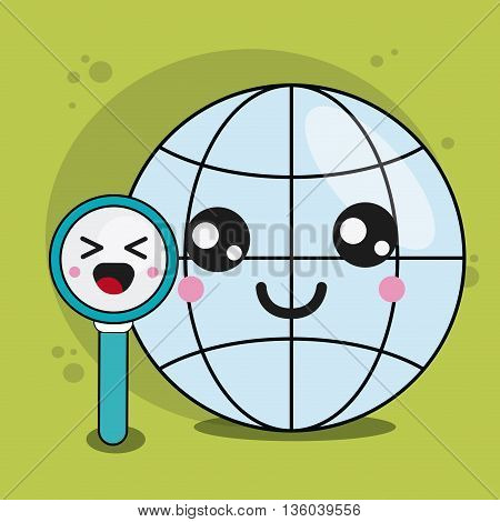 Kawaii and technology concept represented by global and lupe cartoon icon. Colorfull and flat illustration