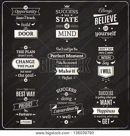 Set of success motivational and philosophical quotes chalkboard isolated emblems making in fashioned font vector illustration