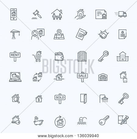 vector line web icons set - Real Estate.