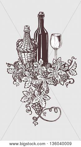 Wine and winetasting illustration