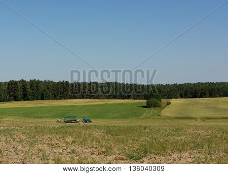Summer works in the field, agriculture. Lithuanian landscape