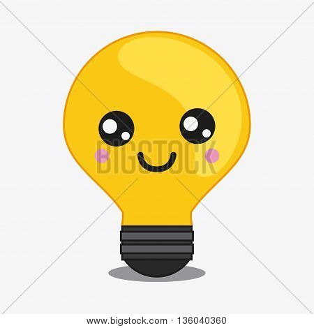 Kawaii and technology concept represented by light bulb cartoon icon. Colorfull and flat illustration