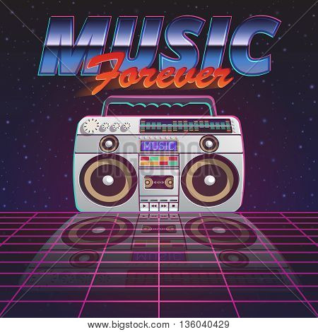 Music forever poster with retro tape recorder on glassy floor on starry sky background flat vector illustration