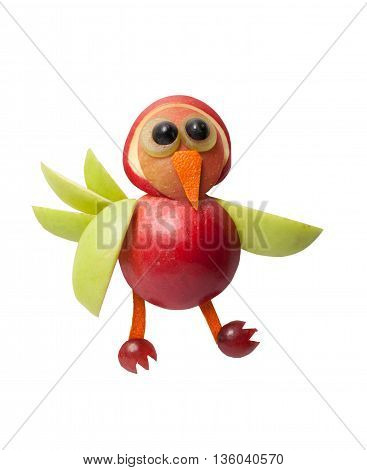 Funny bird made of apple on isolated background