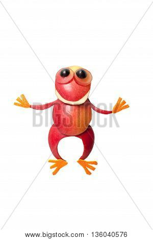 Funny frog made of apple and orange on isolated background