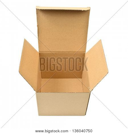 Single open cardboard  box over white background