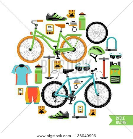 Bicycle and biker accessories icons composition in circle design with cycle racing description flat vector illustration