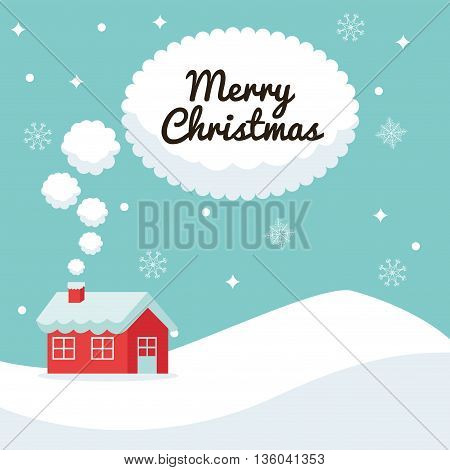 Merry Christmas concept represented by house and bubble icon. Colorfull illustration and Blue background