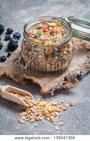 Homemade Granola In Glass Jar