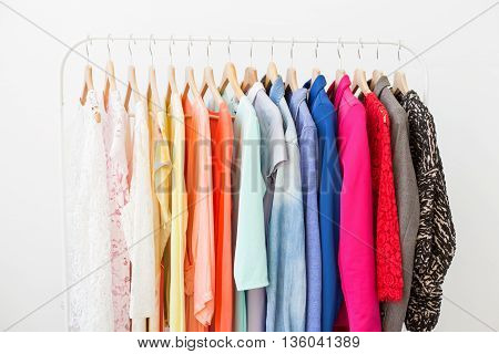 Clothes on the rack at home or in the store