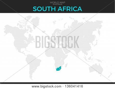 Republic of South Africa location modern detailed vector map. All world countries without names. Vector template of beautiful flat grayscale map design with selected country and border location