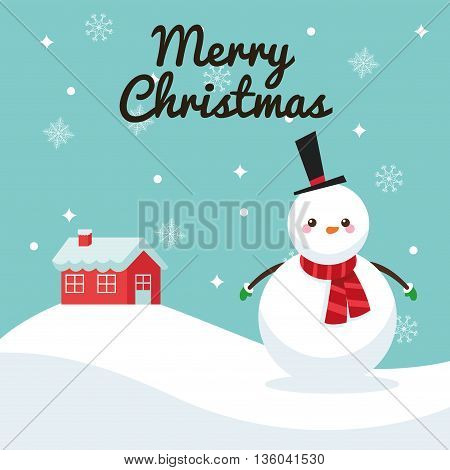 Merry Christmas concept represented by snowman cartoon icon. Colorfull illustration and Blue background