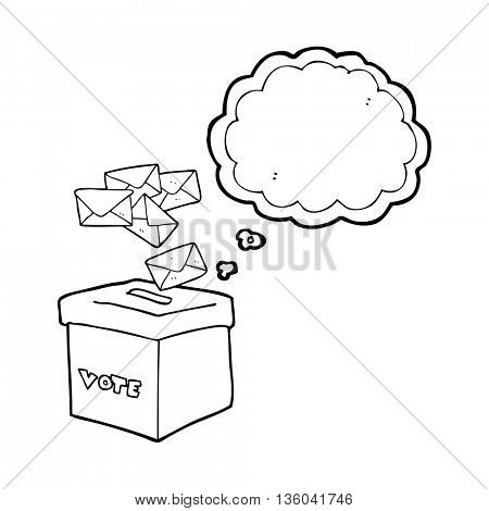 freehand drawn thought bubble cartoon ballot box