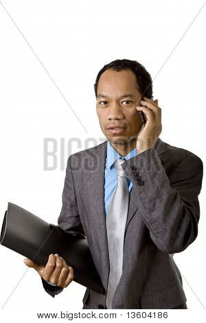 Business male on the phone