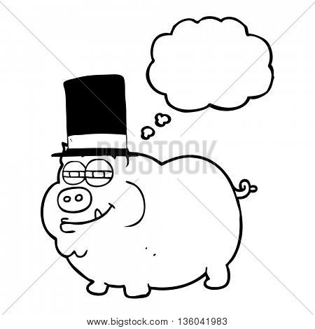freehand drawn thought bubble cartoon rich pig