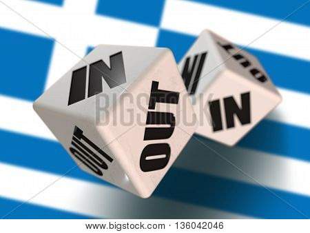 In or Out vote on dice for concept of Greece leaving the European Union with Greece flag in the background. Concept for citizens voting for independence and exiting the EU. Grexit.