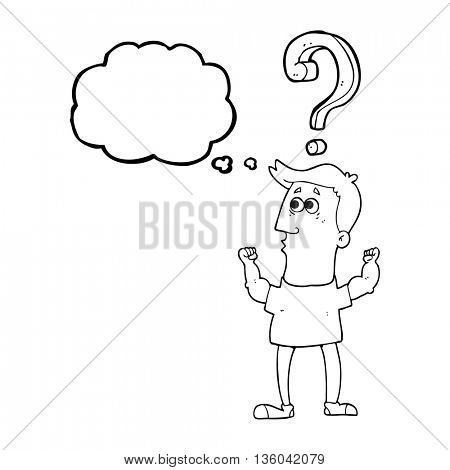 freehand drawn thought bubble cartoon man with question
