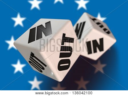 In or Out vote on dice for countries leaving the European Union with flag in the background. Concept for citizens voting for independence and exiting the EU.