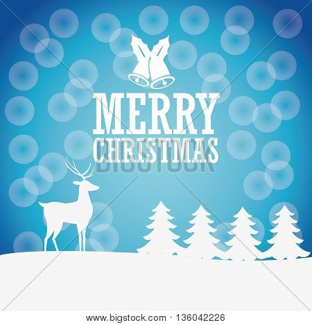 Merry Christmas concept represented by deer, bell and pine tree icon. Colorfull illustration and Blue background
