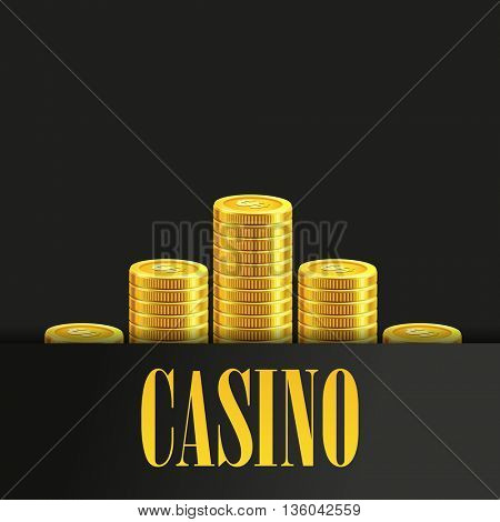 Casino Poster Background or Flyer with Golden Money Coins.