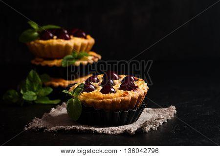 Small Tarts With Fresh Cherries