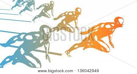 Running Silhouette Background as a Sport Concept 3D Illustration Render