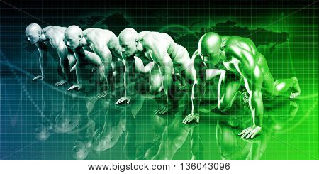 Competition Concept with Several Businessmen Ready to Compete 3d Illustration Render