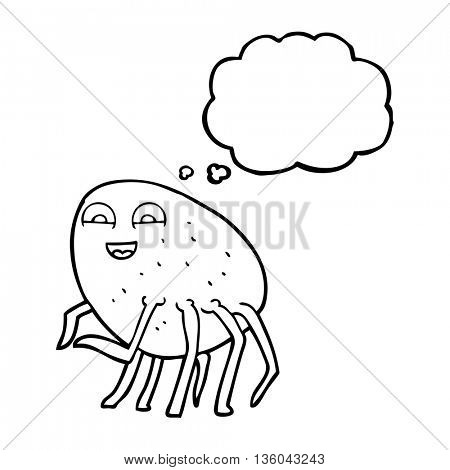 freehand drawn thought bubble cartoon tick