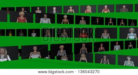 Video Wall of People on Screens in 3d 3d Illustration Render