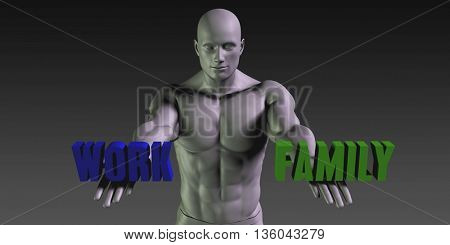 Work or Family as a Versus Choice of Different Belief 3d Illustration Render