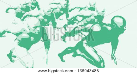 Business Competition With Men Racing to Succeed 3d Illustration Render