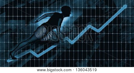 Senior Businesswoman Charging Ahead on Blue Background Art 3d Illustration Render