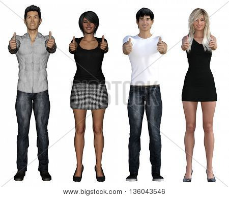 Business People Smiling and Empowered Workforce Concept 3d Illustration Render