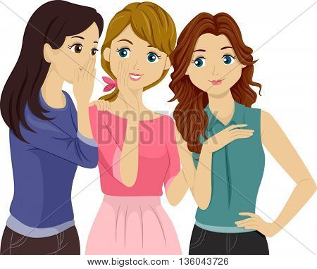 Illustration of Teenage Girls Gossiping